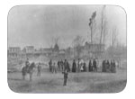 The Great Fire of Nov. 1883 - These curious folks are standing on the Jackson St. in front of the present site of the Fire Station The view is of the Fire Station. This view is of the east side of first st. from B st. to A st. Epstein's is far left, Palace hotel is far right, John Casey's in center.